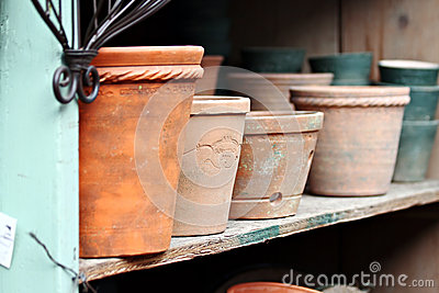 Terra Cotta Pots on Shelf