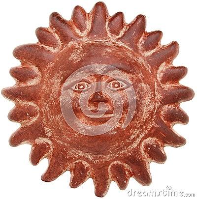Terra cotta sun face