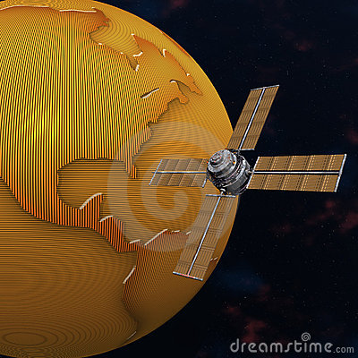 Terra de órbita satélite de sputnik no espaço
