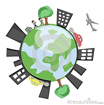 Terra di vettore che mostra le costruzioni, bambini, alberi