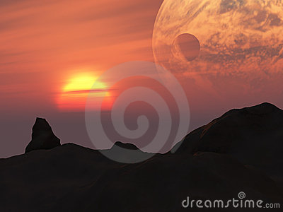 Terra Sunset Fantasy Planet