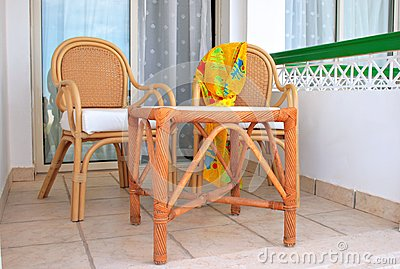 Terrace with arm-chairs