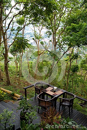 Terrace cafe in tropics