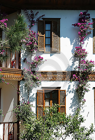 Terrace and flowers in hotel.