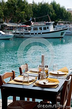 Terrace in the Greek harbor