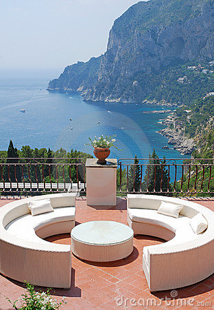 Terrace of luxury villa, Italy