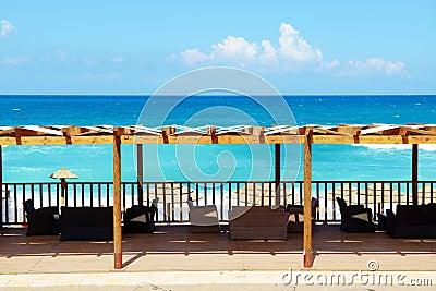 The terrace near beach on Ionian Sea at luxury hotel