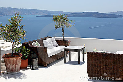 Terrace overlooking sea, Oia, Santorini, Greec