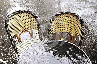 Terrace of a restaurant after the rain