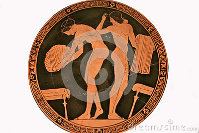 Terracotta kylix or drinking cup paintings