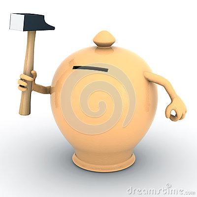 Terracotta money box with arms and hammer on hand