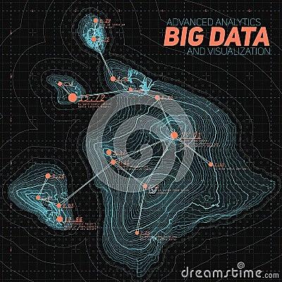 Free Terrain Big Data Visualization. Futuristic Map Infographic. Complex Topographical Data Graphic Visualization. Stock Photo - 91282260