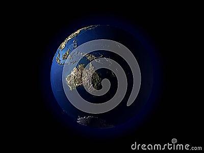 Terrain d océanie de la terre 3d