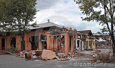 Terremoto de Christchurch - dano da rua do St Asaph Foto de Stock Editorial