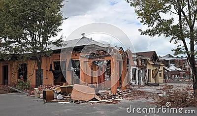 Terremoto de Christchurch - daño de la calle del St Asaph Foto de archivo editorial