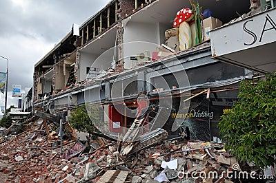 Terremoto de Christchurch - lojas de Merivale destruídas Imagem Editorial