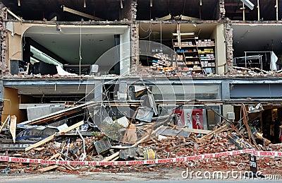 Terremoto de Christchurch - lojas de Merivale destruídas Foto Editorial