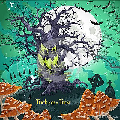 Terrible Halloween cartoon tree with a grin
