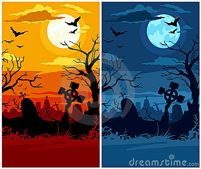 Terrible halloween cemetery moon night and sunset