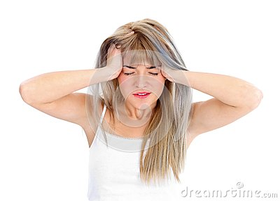 Terrible headache for a woman