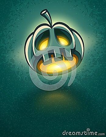 Terrible jack-o-lantern head for halloween card