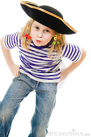 Free Terrible Pirate Girl In Shirt And Hat Royalty Free Stock Photography - 23995737