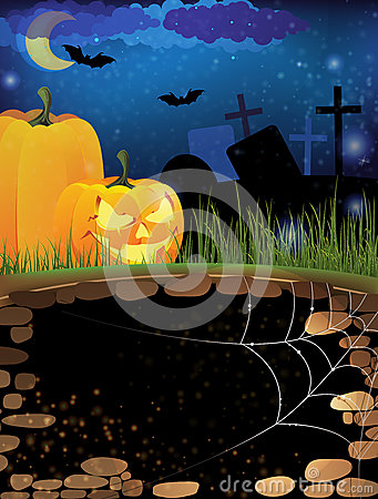 Terrible pumpkins on a night cemetery