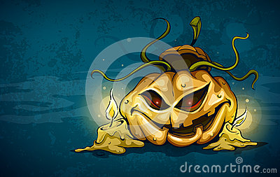 Terrible smiling face of jack-o-lantern