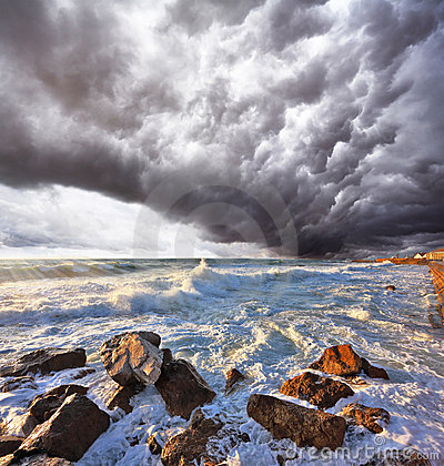 A terrible storm and lightning over the sea
