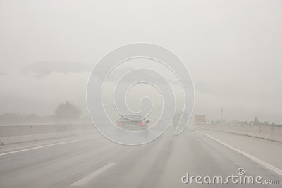 Terrible weather on a highway in Slovenia Editorial Photo