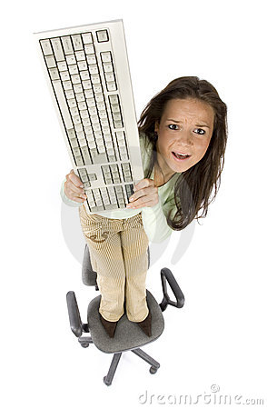 Free Terrified Woman Standing On The Office Chair Royalty Free Stock Photo - 1615665