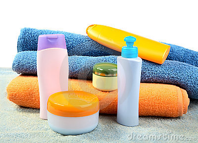 Terry towels and tubes with cosmetics