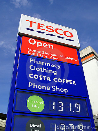 Tesco petrol station sign Editorial Photography
