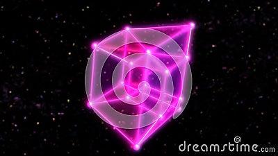 4 Tesseract de Hipercubo Dimensional Rodando no Espaço Exterior e Estrelas - Animação de fundo de movimento de loop sem costura 4 ilustração do vetor