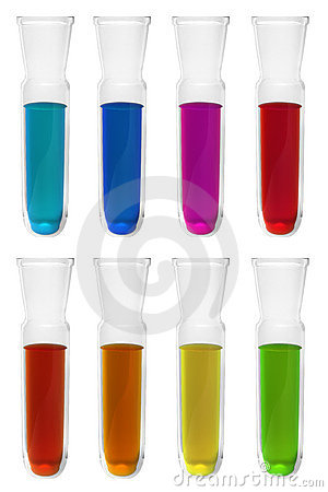 Test tubes with different reagents