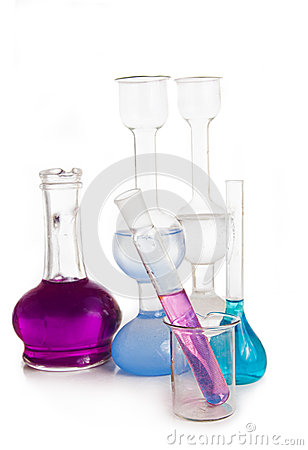 Test tubes and flasks with colorful liquids