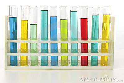 Test tubes standing in rack