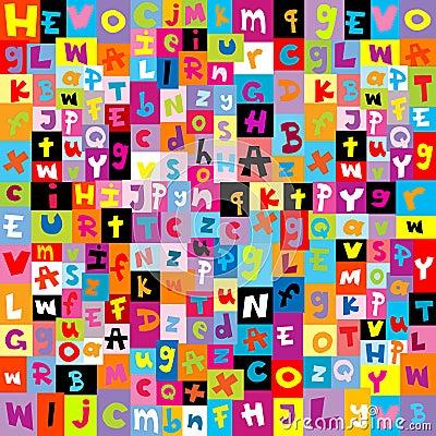 Teste padrão colorido com letras do alfabeto