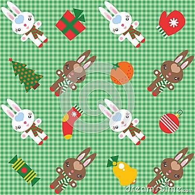 Teste padrão com coelhos e decorações do Natal