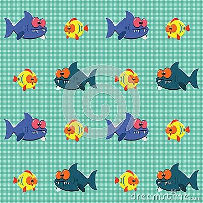 Teste padrão com tubarões e peixes