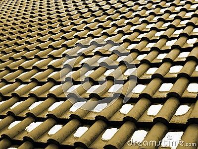 Teste padrão em um telhado com neve