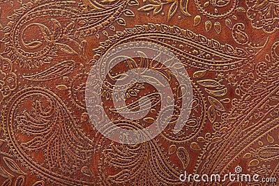 Teste padrão floral no couro marrom