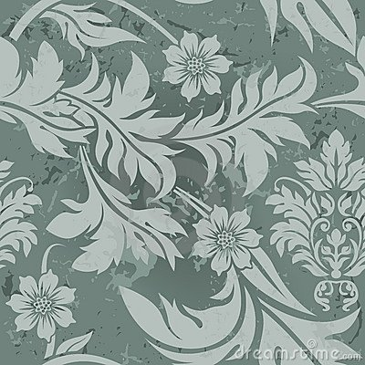 Teste padrão floral cinzento