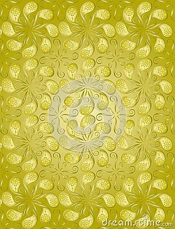 Teste padrão floral da cor dourada