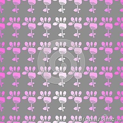 Teste padrão sem emenda com flores em um fundo cinzento