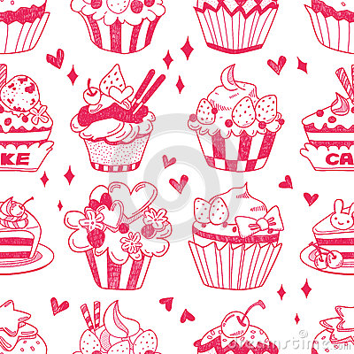 Teste padrão sem emenda do bolo do doodle