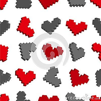 Teste padrão sem emenda do fundo dos corações do pixel