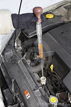Testing radiator fluid on cold winter day