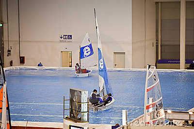 Testing Small Sailboat At Big Blue Sea Expo Editorial Photography