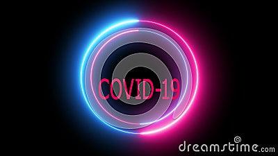 Testo attentamente Vid 19, animazione del testo Vid 19 su uno sfondo scuro con cerchi di neon stock footage